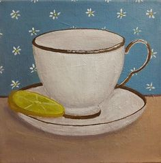 Little Tea Cup With Lemon Painting 6x6 Inches Canvas by Cansupo