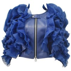 Junya Watanabe blue faux leather jacket with ruffles