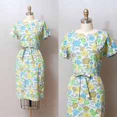 1950s Dress  Blue and Green Floral Garden by OldFaithfulVintage, $50.00