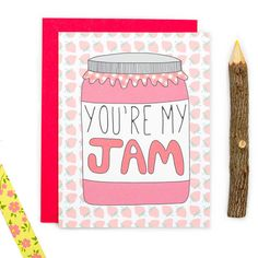 Youre My Jam! Perfect for anniversaries, I love you, Happy Valentines Day, and just because. • Card size is 4.25 x 5.5 inches • Blank inside for your personal message (we print custom messages - leave a note to seller at checkout with your message.) • Printed on premium recycled card stock and includes an envelope color of your choice. • Each card is protected with a sleeve for safe keeping.  ☛ GET 15% OFF! Get a coupon code e-mailed to you instantly when you sign up for our e-mail list at…