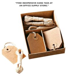"""""""Hang tags are available at any office supply store. They're a great way to label bins or baskets that won't allow for a stick-on label."""" - Williams-Sonoma Cords & Tags Set"""