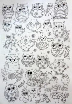 ,collection of owls ..... good for wood burning