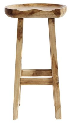 Taburet Bar Oval - Flot barstol i råt teaktræ. Siddehøjden er 80 cm. Modellen findes også som taburet. Stolene har et lækkert og meget råt look. Hver stol er produceret ud fra hver sit stykke træ, hvilket gør hver eneste barstol helt unik.