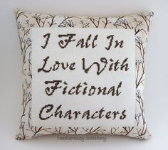 Funny Cross Stitch Pillow, Brown Pillow, Fictional Characters Quote. $25.00, via Etsy.