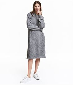 Dark gray melange. Straight-cut, knit dress in a wool blend with mohair content. Hood and drawstring at top, dropped shoulders, and slits at sides. Slightly