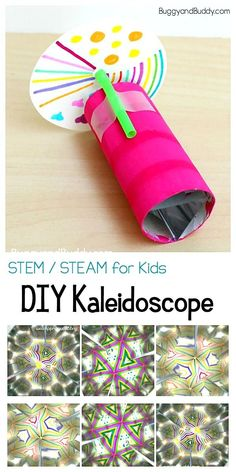 STEM and STEAM for Kids: Children will love exploring the science of light and reflections while creating patterns and in this fun craft and science project all in one! Projects for kids, Science for Kids: How to Make a Kaleidoscope Science Projects For Kids, Science Activities For Kids, Science Experiments Kids, Science For Kids, Stem Activities, Kids Crafts, Stem Science, Children Art Projects, Art Project For Kids