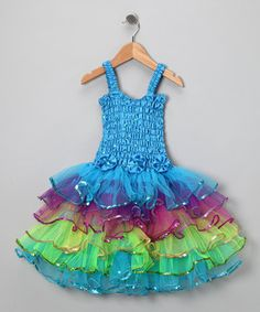 Another great find on #zulily! Turquoise Rainbow Lily Dress - Toddler & Girls by Fairy Dreams #zulilyfinds