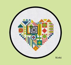 Cross Stitch Pattern Geometric Heart Instant by TinyNeedle on Etsy, $5.00