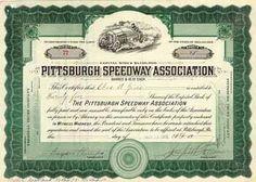 Pittsburgh Speedway Association 25 shares à 10 $ 10.11.1916. Gründeraktie.