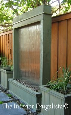 Sagebrush green stained DIY Outdoor Water Wall   The Interior Frugalista