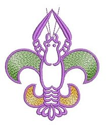 Craw De Lis, Mardi Gras - 4x4 | Featured Products | Machine Embroidery Designs | SWAKembroidery.com
