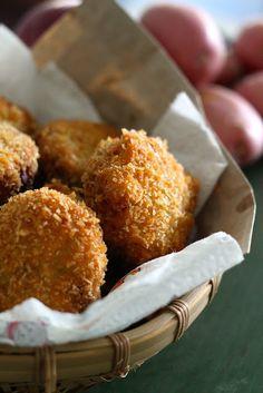 Malaysian Indonesian Food. Begedil. Crispy Deep Fried Potato Patty.