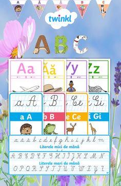 7 seturi cu literele alfabetului, potrivite pentru învățarea acestuia în diferite etape. Pachetul conține:  seturi de planșe, bannere, stegulețe decorative și materiale de decupat, perfecte pentru afișarea în clasă, grupă sau acasă pentru a sprijini elevii în recunoașterea literei mici și mari de tipar, asocierea acesteia cu sunetul și cu litera de mână și trasarea literei de mână. #clasaI #clasapregatitoare #dlc #litere #alfabet #decorulclasei #decorulgrupei Classroom Decor, Alphabet, Homeschool, Diagram, Map, How To Plan, Words, Alpha Bet, Location Map
