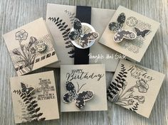 Butterfly Basics 3 x 3 mini cards that fit right into a standard envelope for giving. one cardstock color and one ink