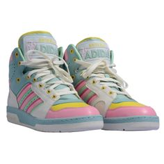 These are the perfect pastel sneakers with a retro touch!!! | Adidas by Jeremy Scott brought to us by Snotty and found at @Fashionlocals