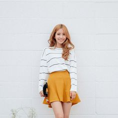 icecream12 Long-Sleeve Striped Knit Top | YESSTYLE