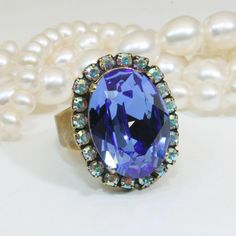 Blue Ring Royal Blue Cocktail Ring Sapphire Blue Adjustable Ring AB Blue Crystal Ring,Oval Blue Swarovski Statement Ring,Brass,Sapphire,BR39