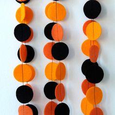 Halloween Garland Orange And Black Felt Circles 6 Ft Pictures