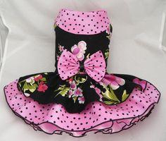 Small dog harness dress. Tutu 5 layer skirt. Floral. by poshdog, $60.00