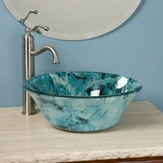 Alpine+Flared+Glass+Vessel+Sink decor ideas ванная, уютный д Bathroom Sink Bowls, Modern Bathroom Sink, Modern Sink, Glass Vessel Sinks, Glass Bathroom, Wood Bathroom, Bathroom Faucets, Bathroom Furniture, Bamboo Bathroom