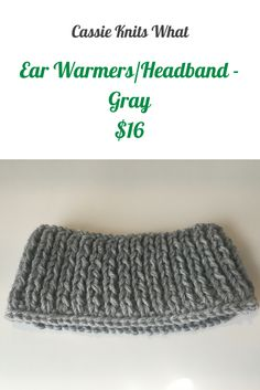 Keep your ears toasty and warm with this knitted gray ear warmer headband!