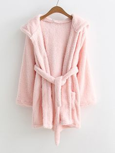 Shop Rabbit Ear Hooded Self Tie Robe at ROMWE, discover more fashion styles online. Pajama Outfits, Cute Outfits, Diy Summer Clothes, Cute Pajamas, Teenage Girl Outfits, Kawaii Clothes, Nightwear, Pajama Set, Lounge Wear