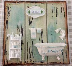 Shabby, Clawfoot Bathtub, Stencils, Diy And Crafts, Sweet Home, Towel, Bathroom, Gisele, Vintage