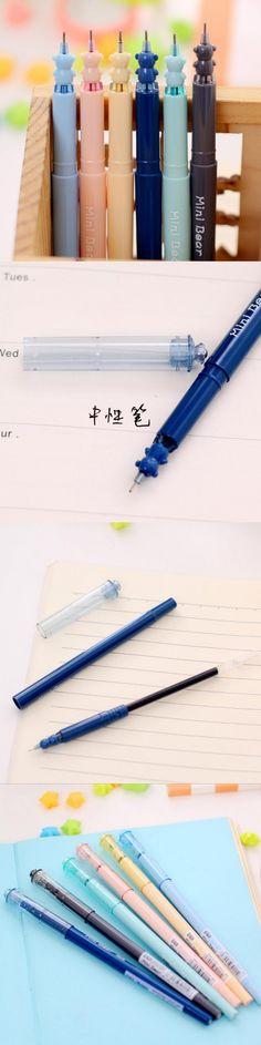 3 Pcs 0.38mm Korean Cute Kawaii Bear Gel Pen Set For Writing Office School Supplies Stationery For Kids Student Gift
