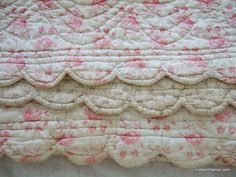 Antique French Boutis Quilt. Reversible. Scalloped edge. faded. Hand made. by JacquelineMcEwan on Etsy
