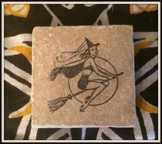 "Witch Hand Stamped Altar Tiles ~ 2 1/2"" x 2 1/2 "" ~ Wicca ~ Witch ~ Pentacle ~ Altar Decoration ~ Candle Coaster ~ Altar Supplies ~ Rituals by SummerlandBB on Etsy"