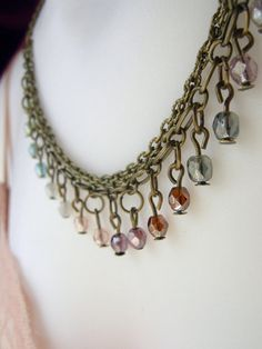 Pastel Layered Czech Glass Bib Necklace  The Bell by Flowerleaf, $38.00