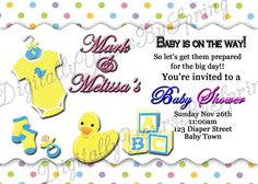 Baby Shower Printables, Baby Shower Invitations, Baby Shower Duck, Different Fonts, Party Needs, Digital Invitations, For Your Party, Youre Invited, Rubber Duck
