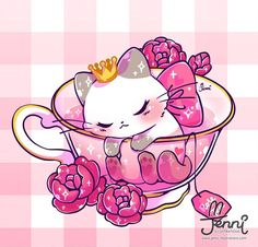 Royal Rose Tea  . . . #sleepingprincess #sleepingcat #teacup #hightea #tealover #rosetea #catlover #simesecat #jennilustrations