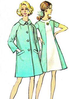 1960s Mod A Line Color Block Dress Raglan Sleeve by paneenjerez, $14.00