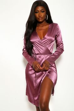 Sexy Mauve Satin Wrap Bodycon Dress Dresses For Teens, Trendy Dresses, Sexy Dresses, Dress Outfits, Fashion Outfits, Evening Gowns On Sale, Clubwear For Women, Spring Dresses, Ball Dresses