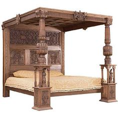 post sideview -Baronial Tudor Four Poster Bed Furniture Care, Teak Furniture, Large Furniture, Furniture Plans, Bedroom Furniture, Colonial Furniture, Furniture Decor, Four Poster Bed Frame, 4 Poster Beds