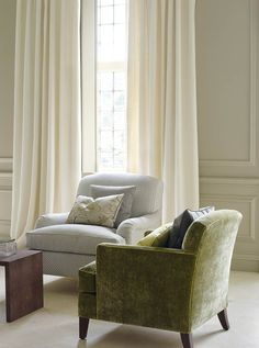Colefax And Fowler's Keats (right chair), Hardwick (left chair), Hugo (drapes)…