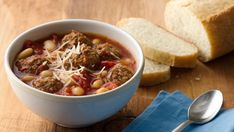 Come home to this slow-cooked  Italian meatball soup  made with Progresso® beef flavored broth and Progresso® beans - perfect for dinner.