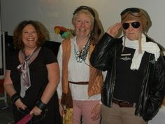 The Kingston Publishing lecturing team dressed as their favourite literary characters (Anastasia Steele from Fifty Shades of Grey, Long John Silver from Treasure Island and Flight Lieutenant Bigglesworth, aka Biggles)
