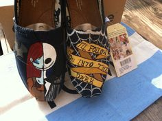 Nightmare Before Christmas TOMS via Etsy- don't want the shoes but I like the half half of Sally and jack.