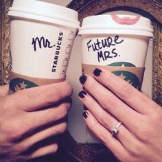 Pin for Later: 30 Cute Engagement Announcement Photos From Real Couples Starbucks Fiends