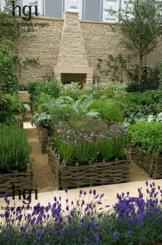 Harpur Garden Images :: 08mh26 Potager and herb garden raised beds borders edged by wicker natural kitchen crop harvest edible organic ecolo...