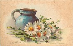 Blue pitcher and daisies--pretty