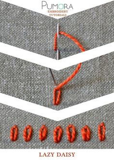 Pumora's embroidery stitch-lexicon: the lazy daisy