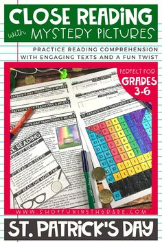 Patrick's Day Close reading activities for upper elementary. Perfect way to incorporate your reading strategies into a fun and engaging St. Your students will learn the histor Reading Notes, Reading Centers, Guided Reading, Close Reading Strategies, Close Reading Activities, 4th Grade Reading, Reading College, Reading Anchor Charts, Reading Comprehension Passages