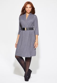 Plus Size Belted Solid Faux Wrap Dress - Dark Heather Gray or Black - Sizes 18/20-30/32 | Day & Casual Dresses: | Avenue
