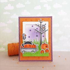 Lawn Fawn - Happy Harvest, Booyah, Sweater Weather, Let's Polka in the Dark _ adorable Halloween card by eva.montes.3 via Instagram