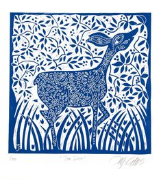 linocut/Doe Deer/blue/original art/printmaking/home interior/printmaking/original art/forest/deer/blue and white/grass/flowers/folk lore