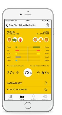 Karma Weather for iPhone: free Chinese zodiac compatibility graph and pourcentage calculator app