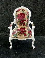 Dollhouse Miniature Fine Furniture White Paradise Butterfly Arm Chair